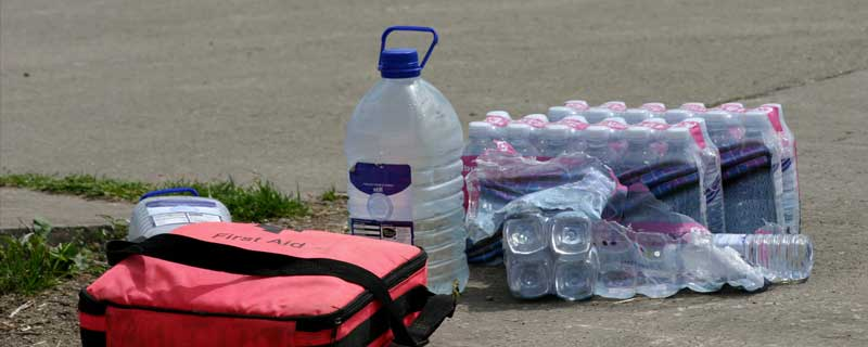 Jug and Water Bottles Outside