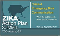 The cover page of the CERC Presentation from the Zika Action Plan Summit that reads 'What the public needs when risks are uncertain.'