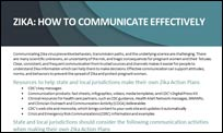 The front page of the Zika: How to Communicate Effectively fact sheet that discusses the CERC principles being used to communicate about Zika.