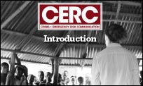 CDC responder talking to villagers about Ebola in Liberia.
