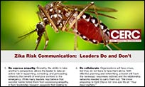 The front page of the Leaders Do and Don't fact sheet that discusses the CERC principles within the context of leaders communicating about Zika.