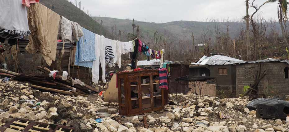 Photo of a house completely destroyed by Hurricane Matthew in Moron in the Grand'Anse department of Haiti