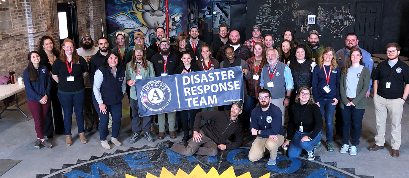 Corporation for National Community Service Disaster Response Team gathered together for a group picture