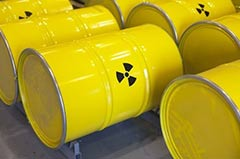 Metal drums with radiation symbol