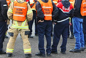 Meeting of emergency responders in different roles