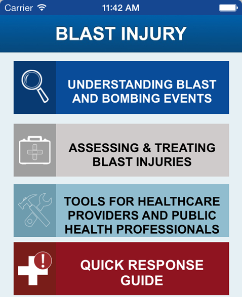 Screenshot of the Blast Injury Mobile App interface