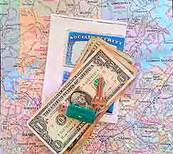 Map, cash, key, and copies of important documents
