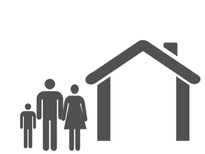 Icon of a family standing outside a house
