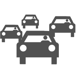 Icon of a group of people evacuating in their cars