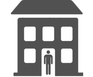 Icon of a person standing in the doorway of a building