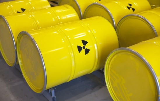 Yellow Drums with Radiation Hazard Symbol