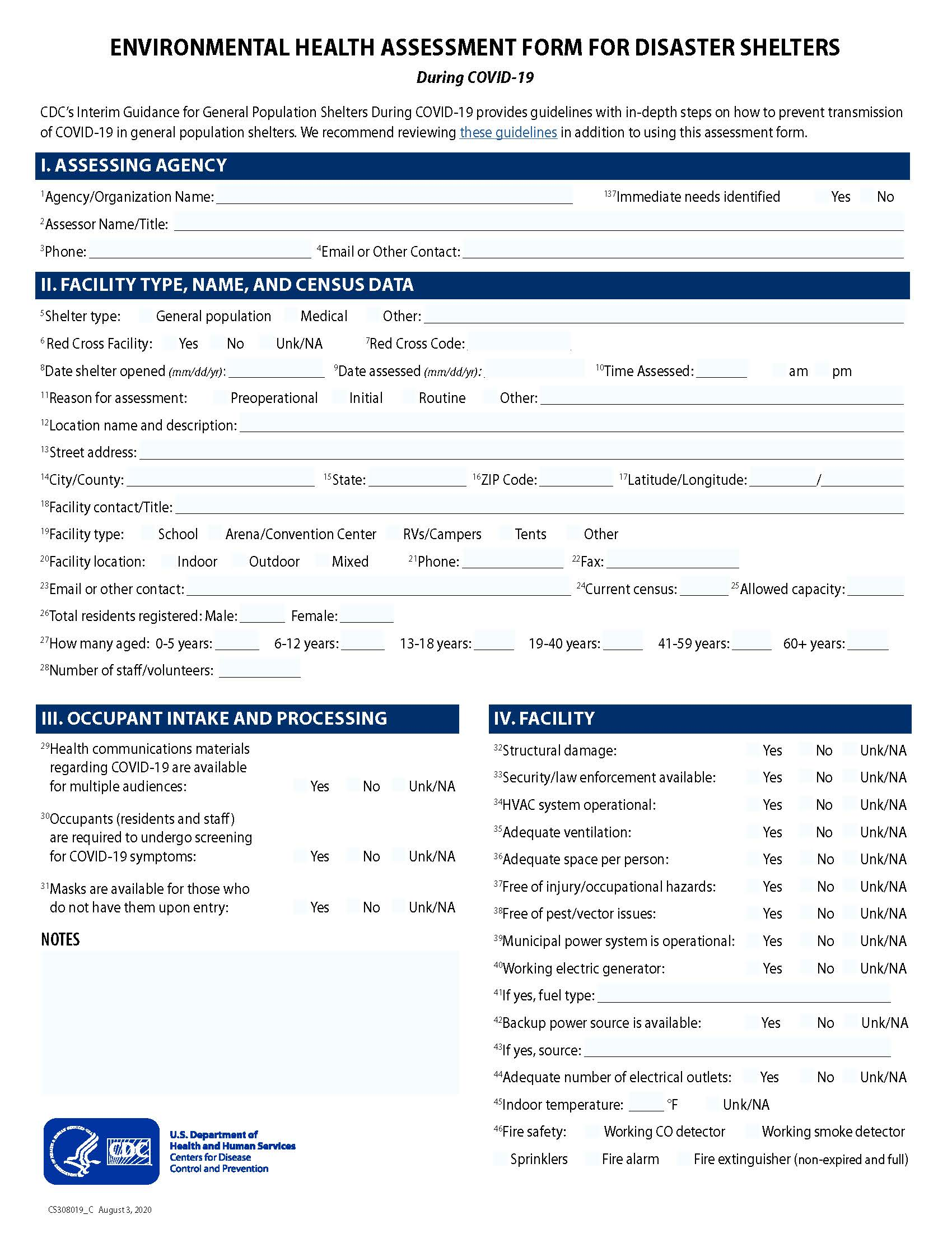Environmental Health Assessment Form for Disaster Shelters during COVID 19