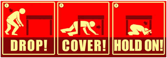 Drop! Cover! Hold On! - Three-step process showing a person crawling under a table and covering head with arms.